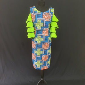 Colourful African Dress with Ruffle Sleeves