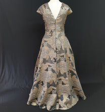 Load image into Gallery viewer, Grey and Gold Jacquard Dress - Cerrura Fashions
