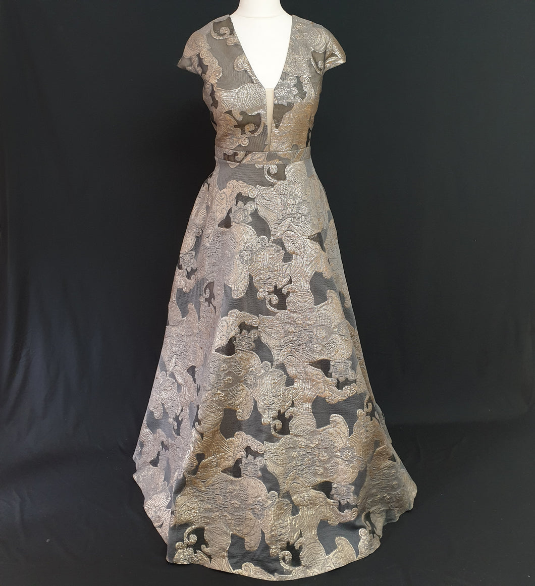 Grey and Gold Jacquard Dress - Cerrura Fashions