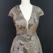 Load image into Gallery viewer, Grey and Gold Jacquard Dress