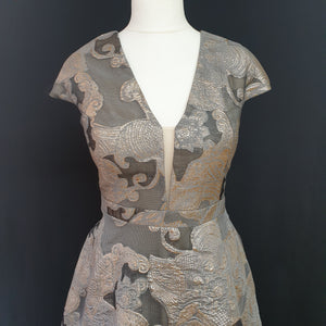 Grey and Gold Jacquard Dress