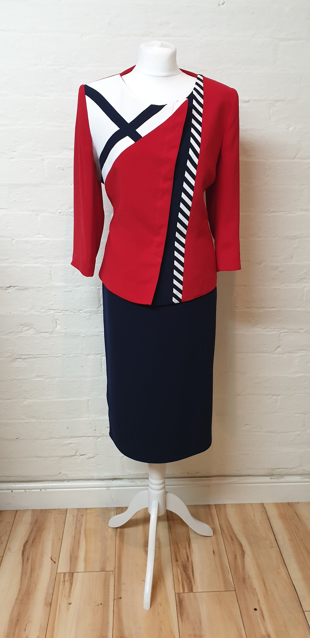 Red and Navy Blue Skirt Suit