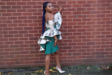 Load image into Gallery viewer, Green Short Off Shoulder Jacquard Dress