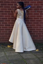 Load image into Gallery viewer, Gold High Low Dress with Lace and Diamante Detail