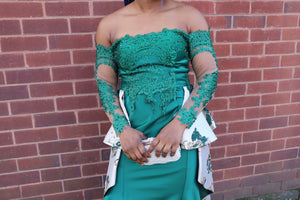 Green Jacquard Dress with Off Shoulder Lace Sleeves - Cerrura Fashions