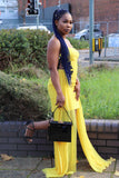 Yellow Short Dress with Chiffon Layers - Cerrura Fashions