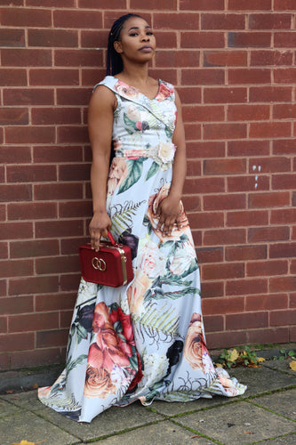 Floral A-line Maxi Dress - Cerrura Fashions