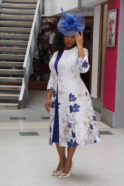 White and Royal Mother of the Bride Dress and Jacket - Cerrura Fashions