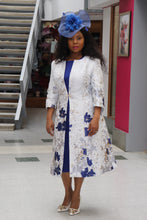 Load image into Gallery viewer, White and Royal Mother of the Bride Dress and Jacket - Cerrura Fashions