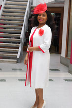 Load image into Gallery viewer, White and Red Mother of the Bride Dress and Jacket - Cerrura Fashions