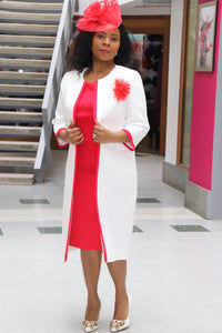 White and Red Mother of the Bride Dress and Jacket - Cerrura Fashions