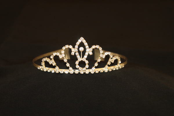 Gold Tiara Crown with Comb and Diamante Details - Cerrura Fashions