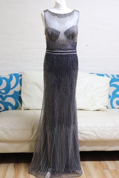 Long Silver Prom Dress - Cerrura Fashions