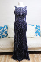Long Navy Prom Dress - Cerrura Fashions