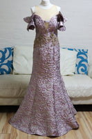 Purple and Gold Fishtail Prom Dress - Cerrura Fashions