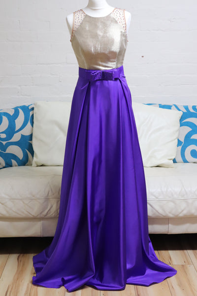 Purple and Gold A Line Prom Dress - Cerrura Fashions