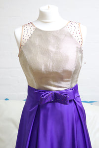 Purple and Gold A Line Prom Dress