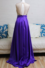 Load image into Gallery viewer, Purple and Gold A Line Prom Dress