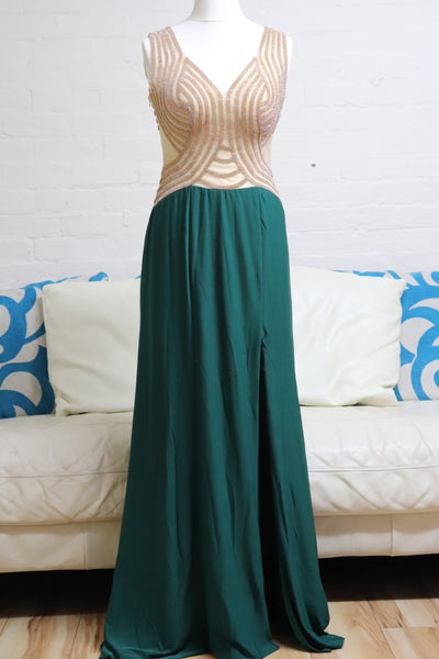 Emerald Green and Gold Evening Dress - Cerrura Fashions