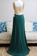 Load image into Gallery viewer, Emerald Green and Gold Evening Dress