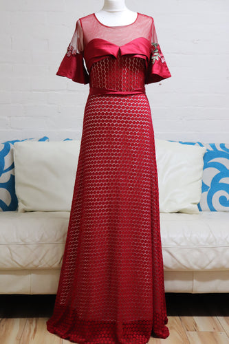 Red Lace Evening Dress - Cerrura Fashions