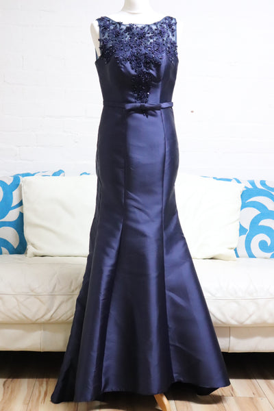 Navy Mermaid Prom Dress - Cerrura Fashions