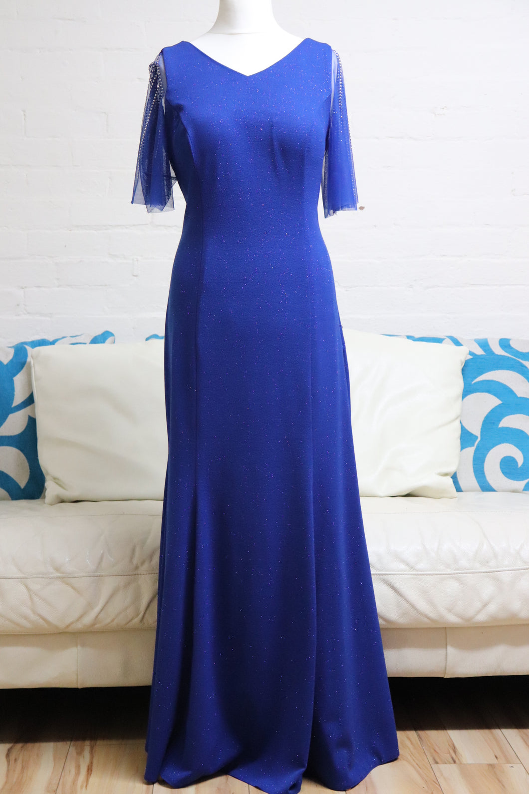 Royal Plus Size Evening Dress with Sleeves