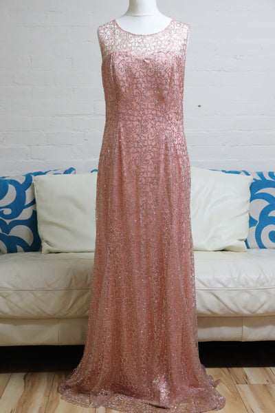 Peach Sequin Plus Size Evening Dress