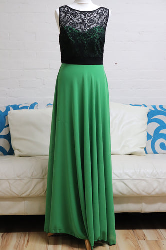 Green and Black A Line Prom Dress