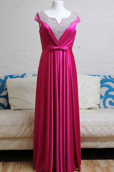 Fuscia Pink Satin Prom Dress