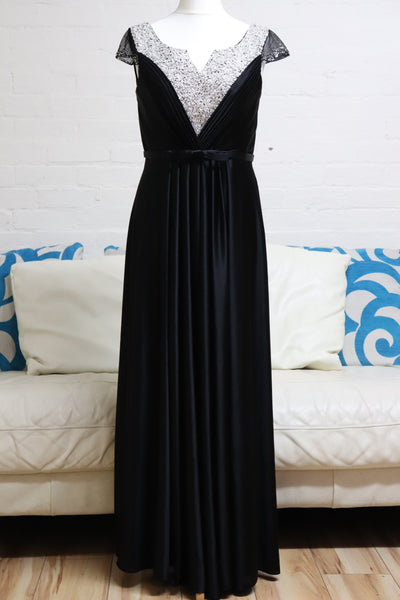 Black Satin Prom Dress with Sequin