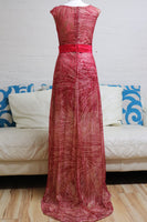Red and Gold Sequin Prom Dress