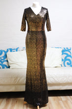 Load image into Gallery viewer, Gold and Black Sequin Prom Dress with Sleeves