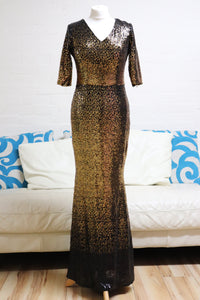 Gold and Black Sequin Prom Dress with Sleeves