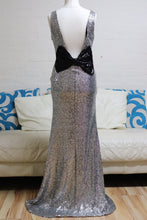 Load image into Gallery viewer, Silver Sequin Prom Dress
