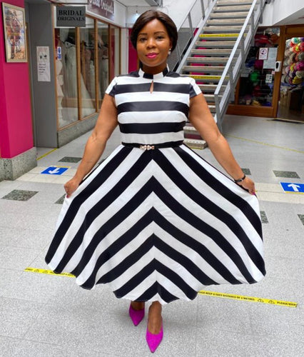 Black and White Fit and Flare Dress - Cerrura Fashions