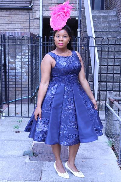 Short Navy Dress with Box Pleats