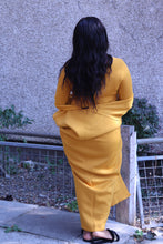 Load image into Gallery viewer, Mustard Yellow Dress with Long Cardigan
