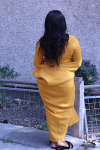 Mustard Yellow Dress with Long Cardigan