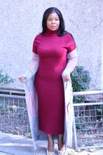 Load image into Gallery viewer, Burgundy Dress with Long Cardigan