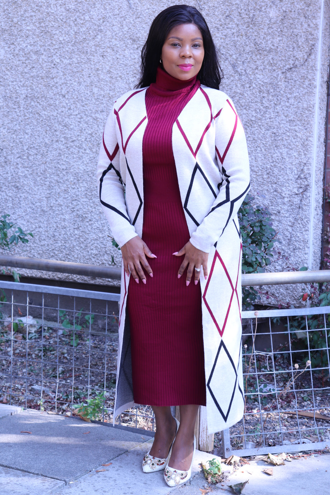 Burgundy Dress with Long Cardigan