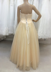 Cream Pearl Ball Gown Prom Dress - Cerrura Fashions
