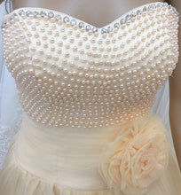 Load image into Gallery viewer, Cream Pearl Ball Gown Prom Dress - Cerrura Fashions