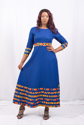 Blue Long African Dress With Orange Pattern - Cerrura Fashions