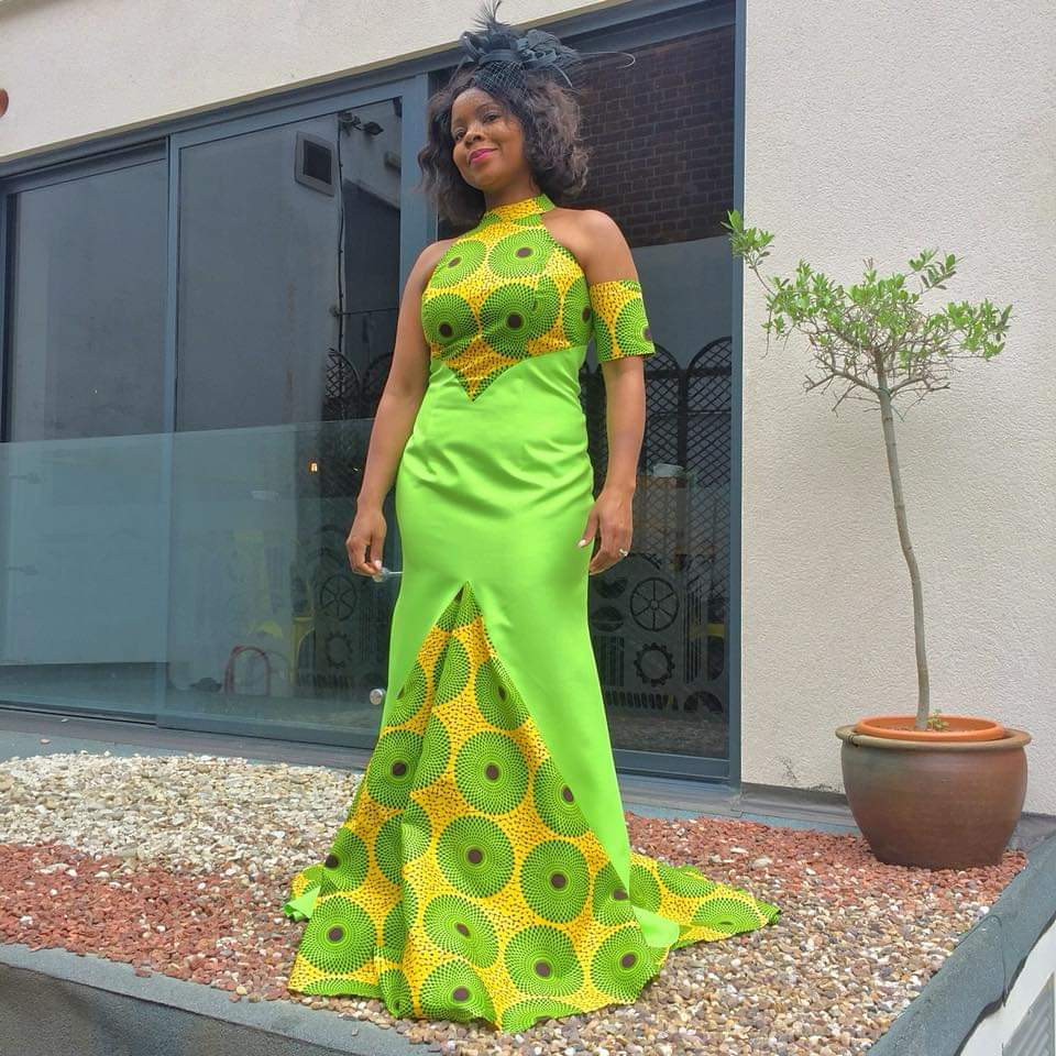 Green African Print Dress With Halter Neck Design and Fishtail - Cerrura Fashions