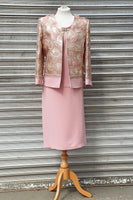 Pink Three Piece Skirt Suit in Jacquard Material - Cerrura Fashions