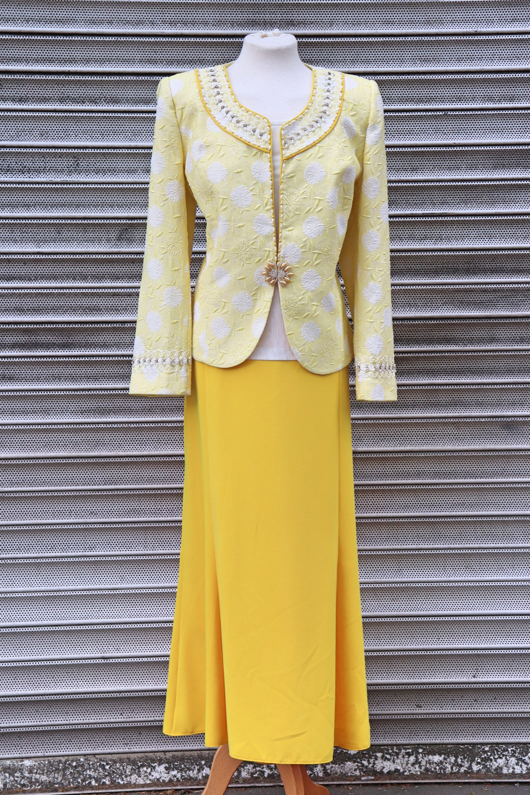 Yellow Three Piece Long Skirt Suit - Cerrura Fashions