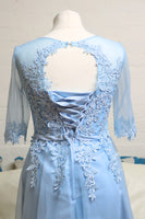 Baby Blue Tulle Evening Dress With Sleeves