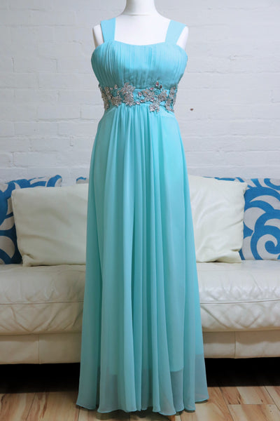 Turquoise Prom Dress witb Sequin