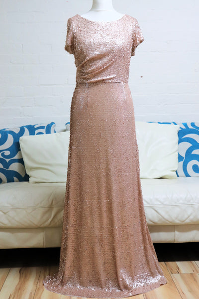 Champagne Sequin Evening Dress